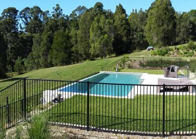 Alumium Black Flat Top Pool Fencing In Broken Head