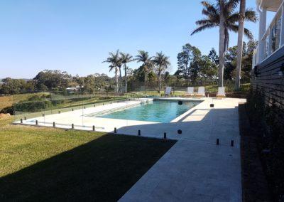 Matt Black Spigots Frameless Glass Pool Fencing In Coopers Shoot