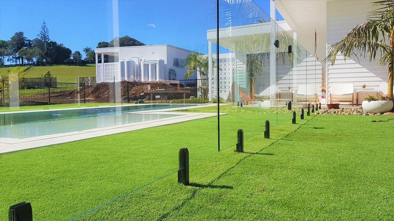 Matt Black Spigots Close Up Pool Safe Glass Fencing